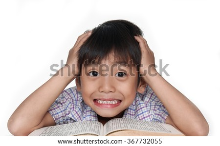 Portrait of a young student reading a book - stock photo