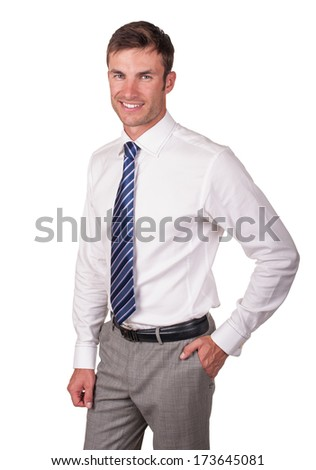 Portrait of a young successful businessman isolated on white background - stock photo