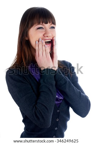Portrait of a young surprised woman at isolated background - stock photo