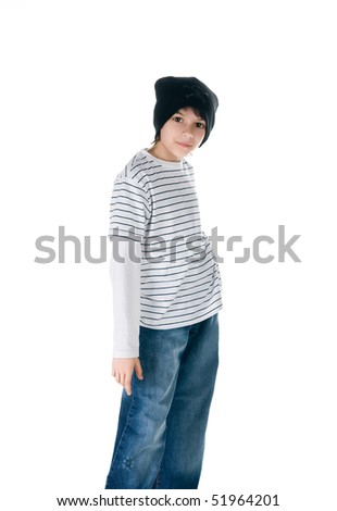 Portrait of a young teen. Isolated on a white background - stock photo