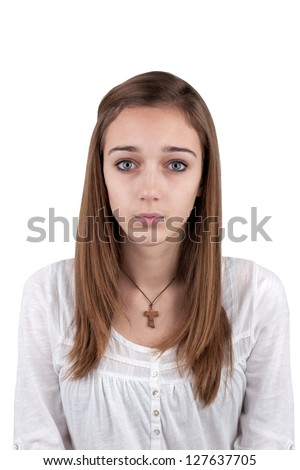 Portrait of a young teenage girl - photo for the ID - stock photo