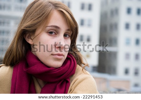 Portrait of a young teenage girl with light brown hair - stock photo