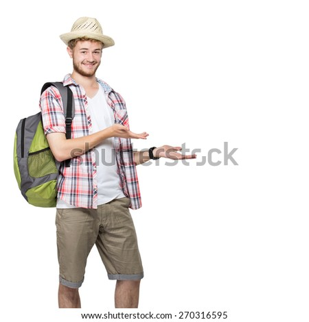 portrait of a young traveling man with backpack presenting isolated on white background - stock photo