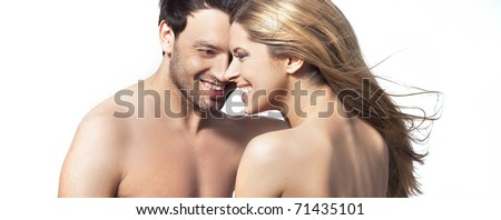 Portrait of a young undressed couple - stock photo