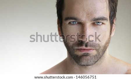Portrait of a young very handsome man up close - stock photo