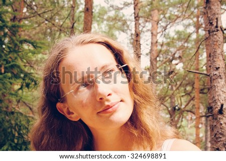 Portrait of a young woman - stock photo