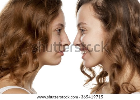 portrait of a young woman, before and after rhinoplasty - stock photo