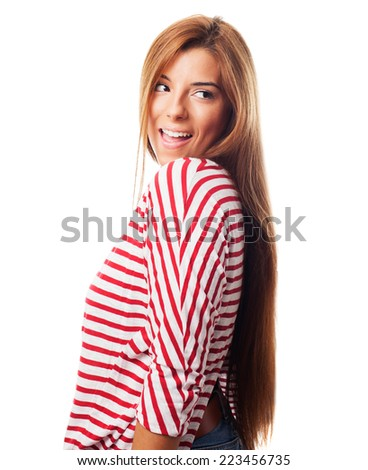 portrait of a young woman excited looking back