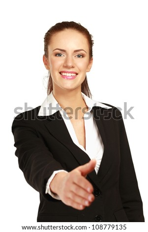 Portrait of a young woman giving her hand, isolated on white background - stock photo