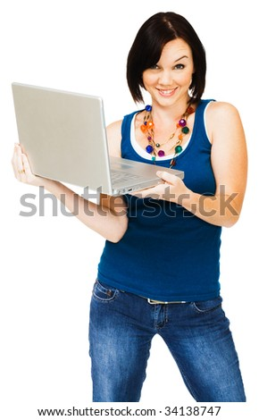 Portrait of a young woman holding a laptop isolated over white - stock photo