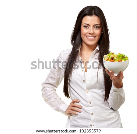 portrait of a young woman holding a salad over a white background - stock photo