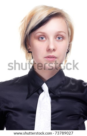 Portrait of a young woman in black shirt, on white - stock photo