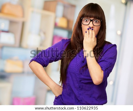 Portrait Of A Young Woman, Indoor - stock photo