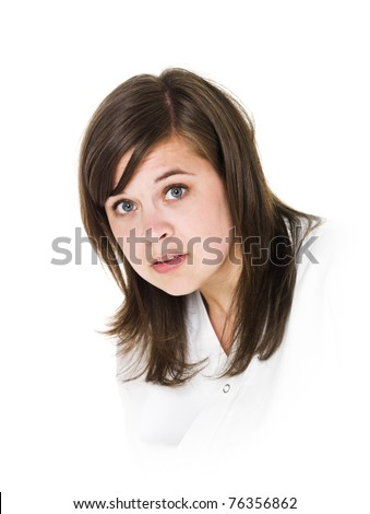Portrait of a young woman isolated on white background - stock photo