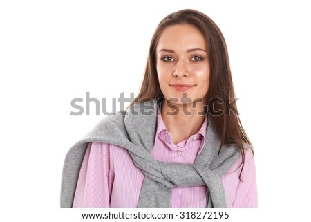 Portrait of a young woman isolated on white next to copyspace.