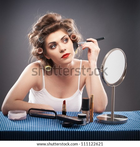 Portrait of a young woman make up applying. - stock photo