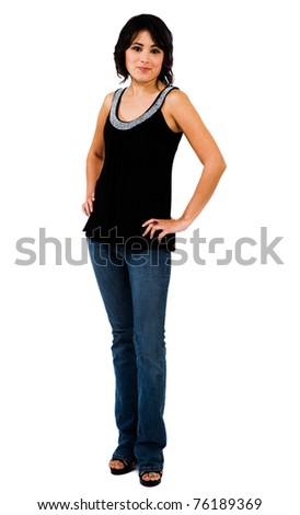 Portrait of a young woman posing and smiling isolated over white - stock photo