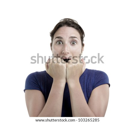 Portrait of a young woman scared with her hands over her mouth. Over white editable monochrome background - stock photo