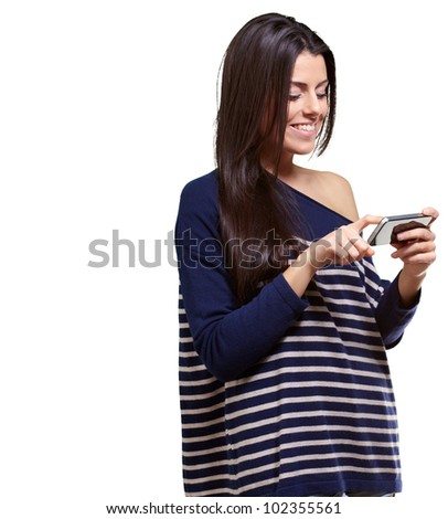 portrait of a young woman touching a modern mobile over a white background - stock photo