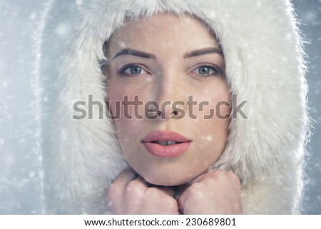 Portrait of a young woman wearing a fur cap. Snowy winter day - stock photo
