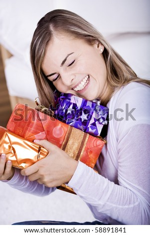 portrait of a young woman with gifts