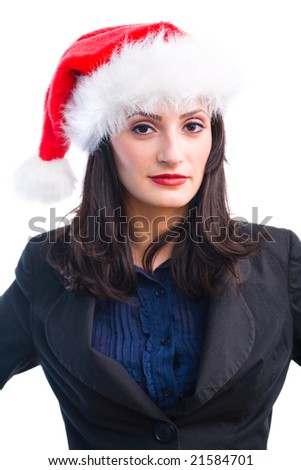 Portrait of a young woman with Santa hat, being serious