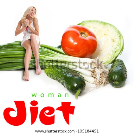 Portrait of a young woman with vegetables. Concept - stock photo