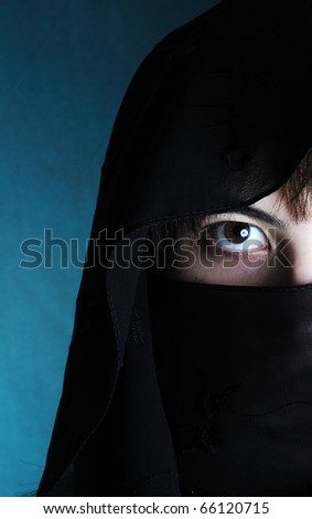 portrait of a young woman with veil - stock photo