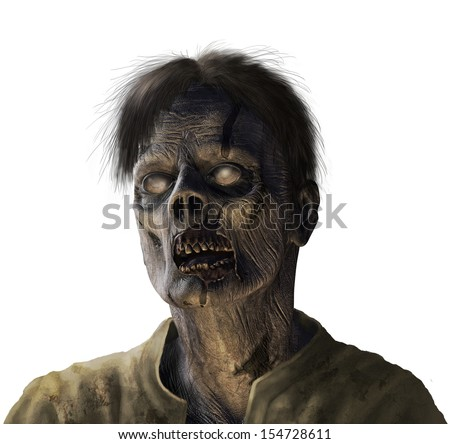 Portrait of a zombie - 3d render with digital painting. - stock photo