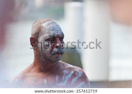Portrait of Aboriginal man in Sydney, AU, 15th February, 2015. Aboriginal dancer performs at Darling Harbour in Sydney, Australia. - stock photo