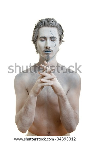 Portrait of actor playing spirit of water - stock photo