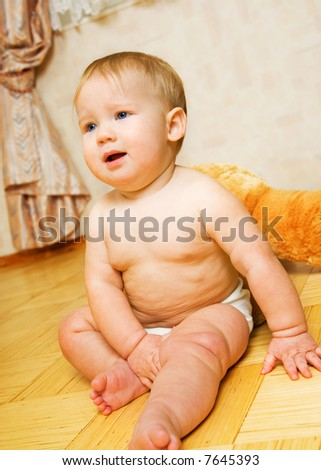 Portrait of adorable baby - stock photo
