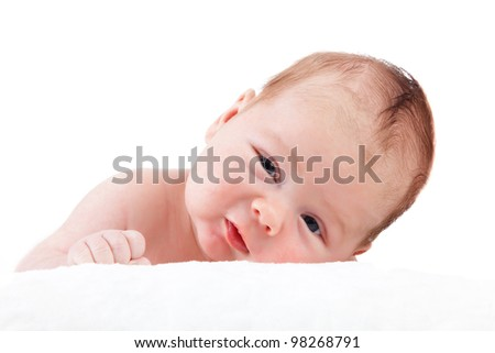portrait of adorable baby. beautiful baby boy on white background.  1 month baby.
