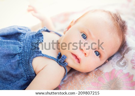 Portrait of adorable baby girl - stock photo