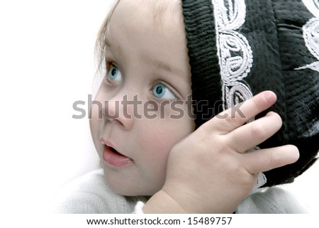 Portrait of adorable baby girl with hat - stock photo