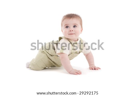 Portrait of adorable blue-eyes baby lying down over white