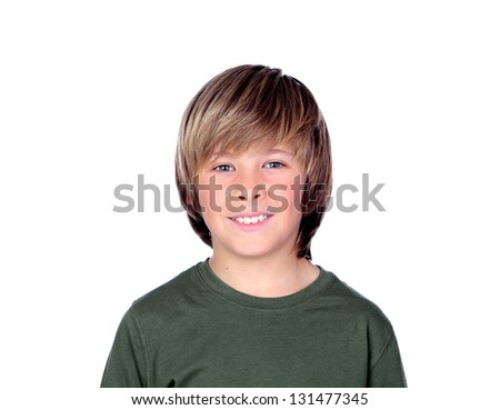 Portrait of adorable child isolated on a over white background - stock photo