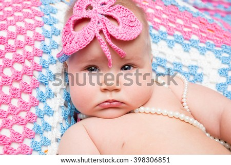 Portrait of adorable cute newborn little baby girl - stock photo