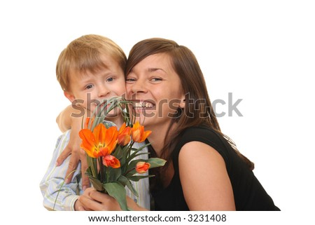 portrait of adorable family - mother and son with flowers isolated on white