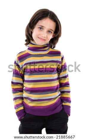 Portrait of adorable girl on a over white background - stock photo