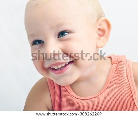 portrait of adorable happy baby - stock photo