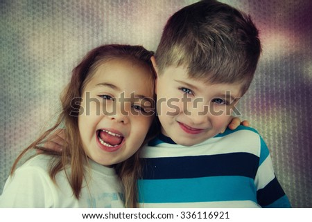 Portrait of adorable happy children. - stock photo