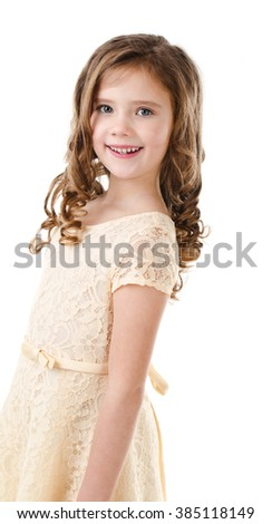 Portrait of adorable happy little girl isolated on a white