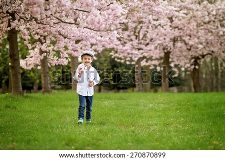 Portrait of adorable little boy in a cherry blossom tree garden, spring afternoon, positive emotions, smiling - stock photo