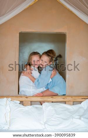Portrait of adorable little girls having fun  - stock photo