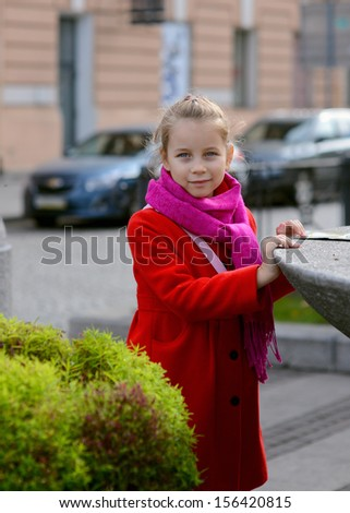Portrait of adorable little girls outdoors in city