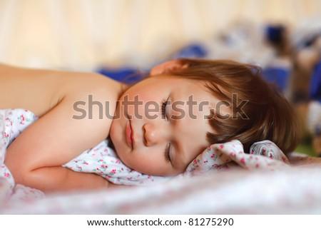 portrait of adorable sleeping baby - stock photo