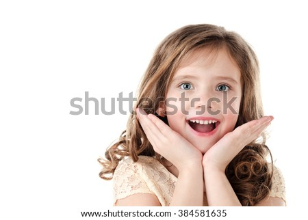 Portrait of adorable surprised little girl isolated on a white - stock photo