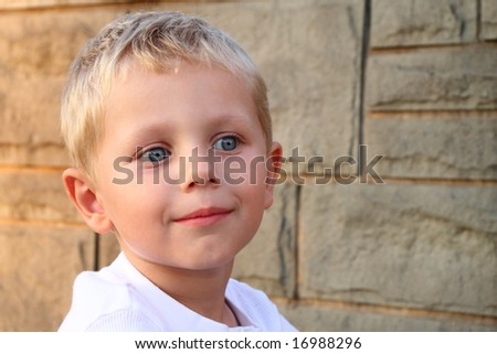 Portrait of adorable three years old boy - stock photo
