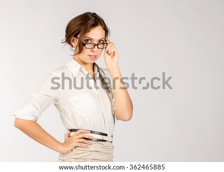portrait of adult woman with glasses - stock photo